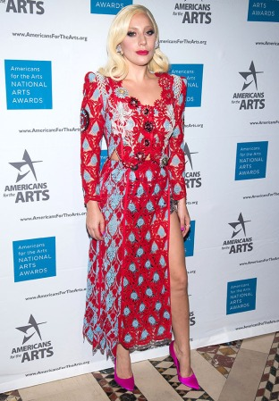 Lady Gaga attends the Americans for the Arts 2015 National Arts Awards at Cipriani 42nd Street on Monday, Oct. 19, 2015, in New York. (Photo by Charles Sykes/Invision/AP)