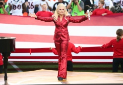 SANTA CLARA, CA - FEBRUARY 07: Lady Gaga sings the National Anthem at Super Bowl 50 at Levi's Stadium on February 7, 2016 in Santa Clara, California. (Photo by Christopher Polk/Getty Images)